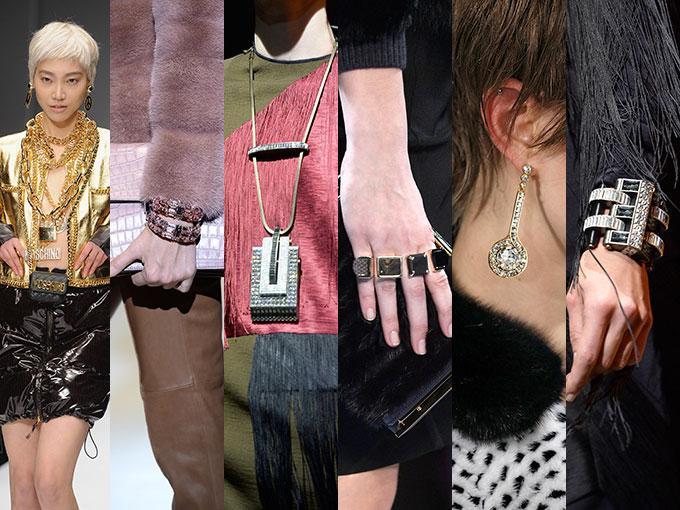 Logos enormes en Versace y Moschino, anillos infinitos en Nina Ricci, relojes en forma de cinturón en Chanel y toques tribales en Givenchy y Vivienne Westwood. Checa un poco de las tendencias en joyería que vienen para la próxima temporada.