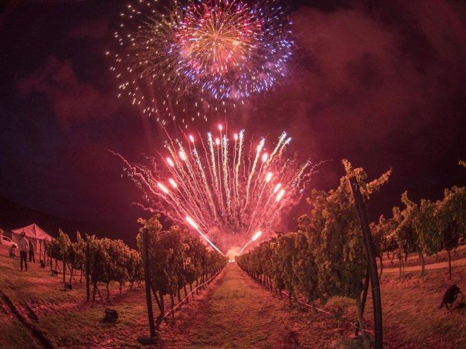 Fuegos artificiales alumbraron el viñedo al caer la noche