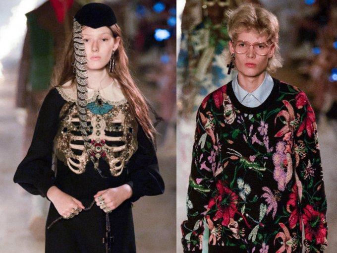 Un lugar de otro mundo, que nos recuerda a la muerte. Flores, velos, medias, crucifijos y mascadas es lo que destaca. Así es la nueva colección Gucci Resort 2019: