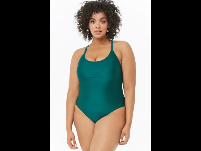 Considera este traje de baño completo en color verde de Forever 21.