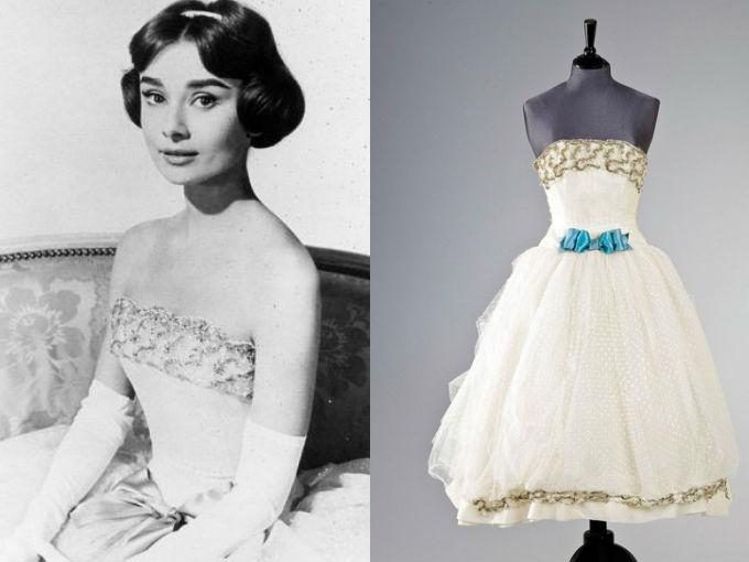 "Vestido de la casa de alta costura Givenchy utilizado por Audrey en la película ""Love in the Afternoon"" de 1956."
