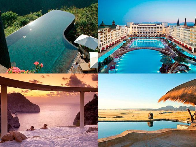 Muchas han sido las formas en que los lujosos resorts buscan a atraer la atención de sus clientes. Una de ellas -muy atractiva por cierto- es sorprender a sus huéspedes con sus maravillosas instalaciones, específicamente sus piscinas. Aquí te mostramos 10 de nuestras favoritas.