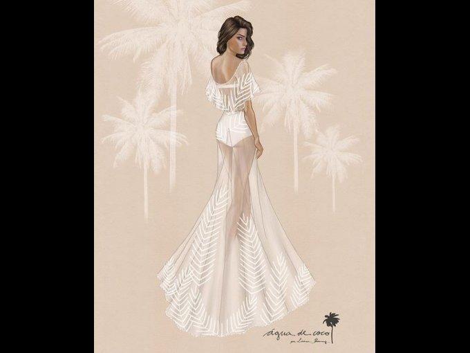 En lugar de un vestido tradicional, Isabeli optó por un vestido bordado de tul sobre un traje de baño, el cual fue creado por la firma brasileña Agua de Coco.