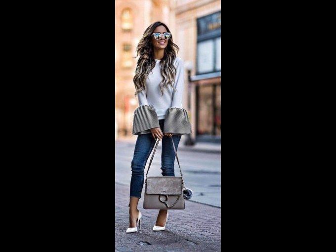 Si el plan es más casual como un desayuno en su casa o algo por el estilo, lleva jeans, y stilettos que combinen con tu blusa. OJO, no hay reglas para esta celebración pero trata de no llevar blanco o combinarlo con otro color, por ejemplo este outfit es gris muy clarito con mangas obscuras y pantalón azul, así le da un equilibrio.