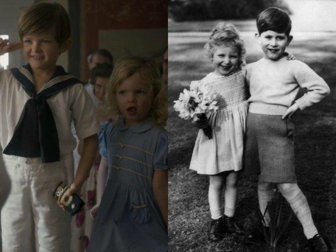 Estos pequeños actores interpretan al príncipe Carlos (padre de WIlliam y Henry) y a la princesa Ana