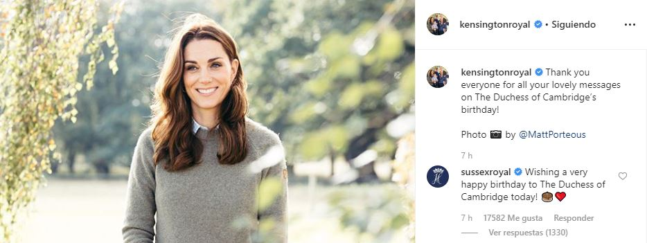 Kate Middleton cumple 38 años / Foto: Instagram @kensingtonroyal